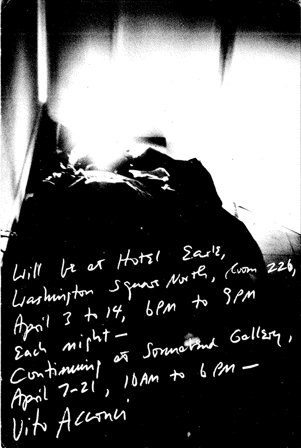 Vito Acconci, Will be at Hotel Earle (...), 1973.