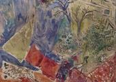 """Detalhe de Marc Chagall, Pano de Cena para a """"Flauta Mágica"""", Acto 2, Cena 3, 1965-1967"""